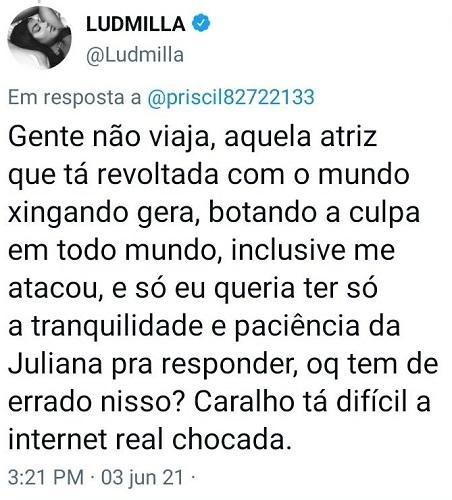 """Ludmilla é criticada por curtir posicionamento de Juliana Paes: \""""Não viaja\"""""""