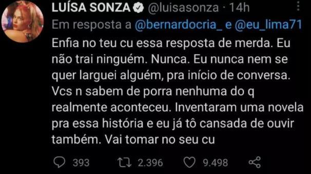 Luísa Sonza apaga fotos e deixa de seguir Whindersson Nunes no Instagram