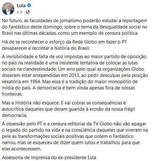 """Lula acusa a Globo de se esforçar para o PT desaparecer: \""""Obsessão\"""""""