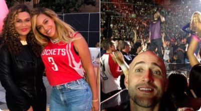 Foto um: Beyoncé posa com a mãe; foto dois: Paulo Gustavo está no show da artista