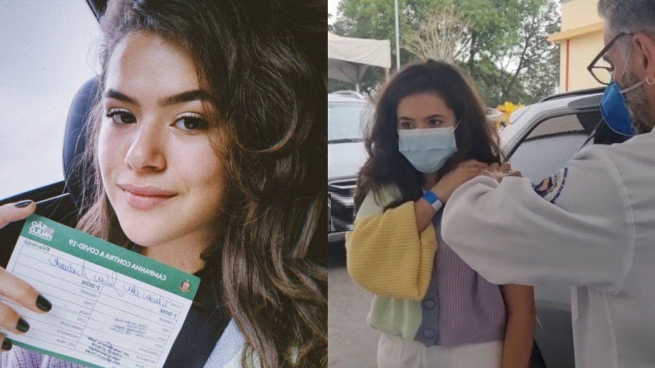 Em fotos compartilhadas no Instagram, Maisa exibe cartão de vacina e recebe a primeira dose contra a Covid-19