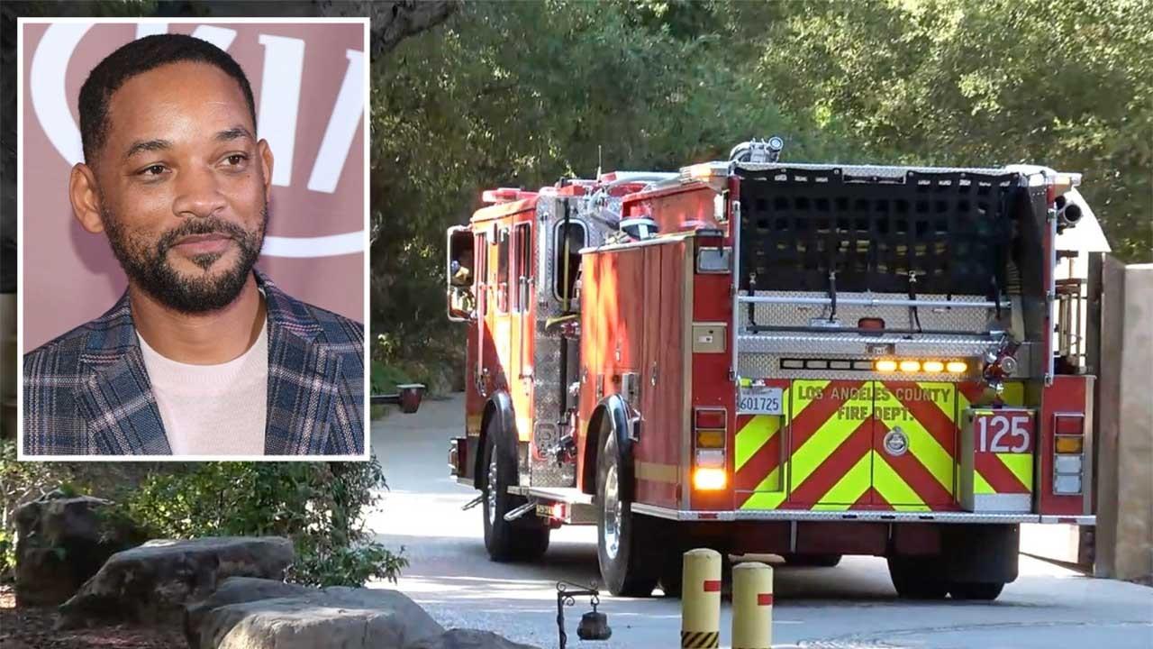 Will Smith posado; carro de corpo de bombeiros saindo do condomínio do ator