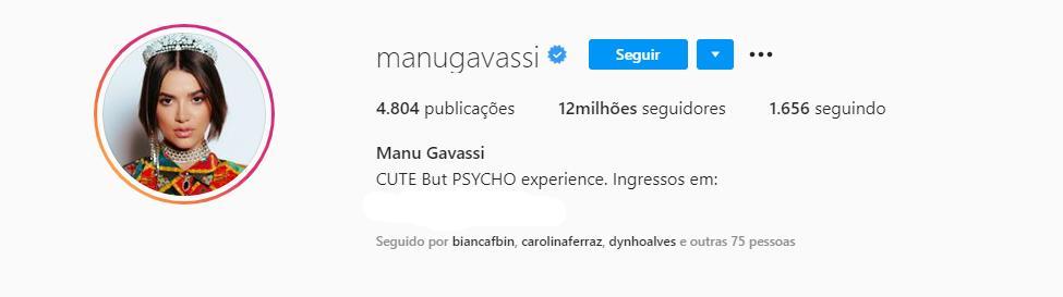 BBB20: Manu Gavassi se torna uma das participantes mais seguidas no Instagram