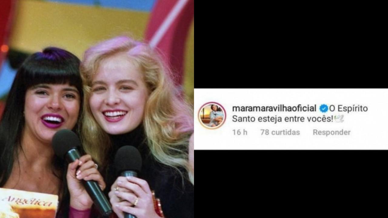 """Mara Maravilha e Angélica em programa nos anos 90 e print da mensagem da apresentadora do SBT escrita: """"O Espírito Santo esteja entre vocês"""""""