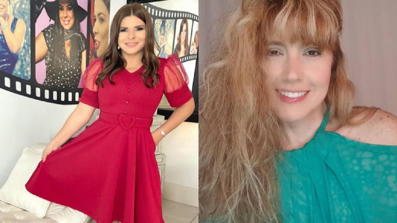 Montagem de Mara Maravilha com um vestido longo e segurando a barra da peça e da ex-apresentadora Mariane sorridente