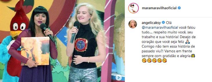"""Angélica responde Mara Maravilha: \""""Comigo não tem essa história de passado\"""""""