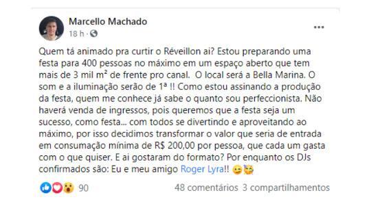 Irmão de Márcio Garcia organiza Réveillon para 400 pessoas com pai internado com Covid-19