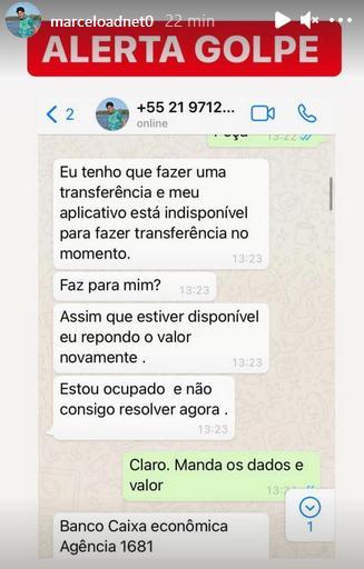 """Marcelo Adnet é vítima de golpe e faz alerta: \""""Estão usando o nome da minha filha\"""""""