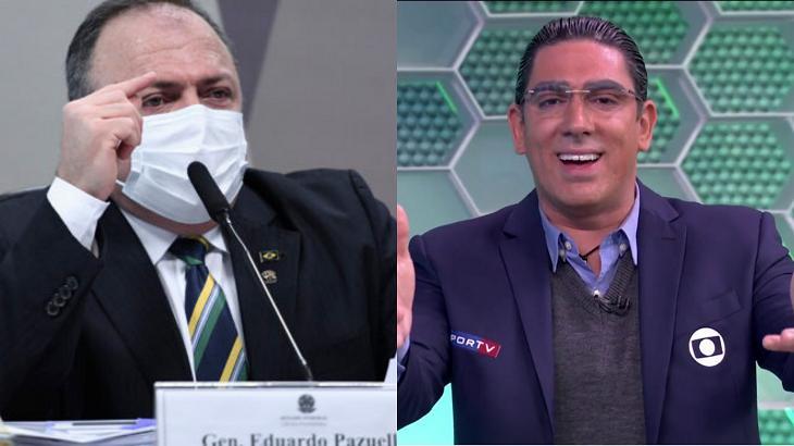 Eduardo Pazuello (à esquerda) e Marcelo Adnet (à direita) em foto montagem