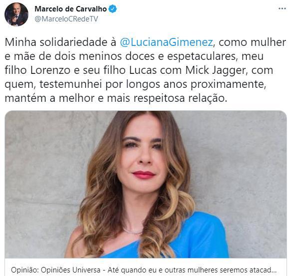 Marcelo de Carvalho defende Luciana Gimenez após ataques de Kajuru