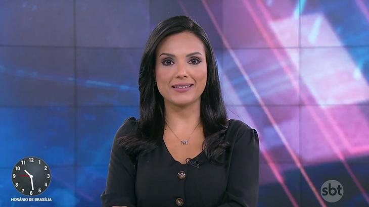 Márcia Dantas apresentando jornal no SBT