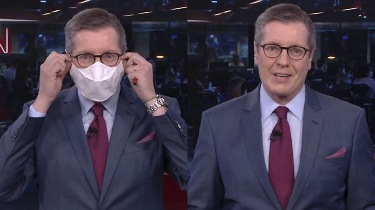 Márcio Gomes usa máscara em estreia na CNN Brasil