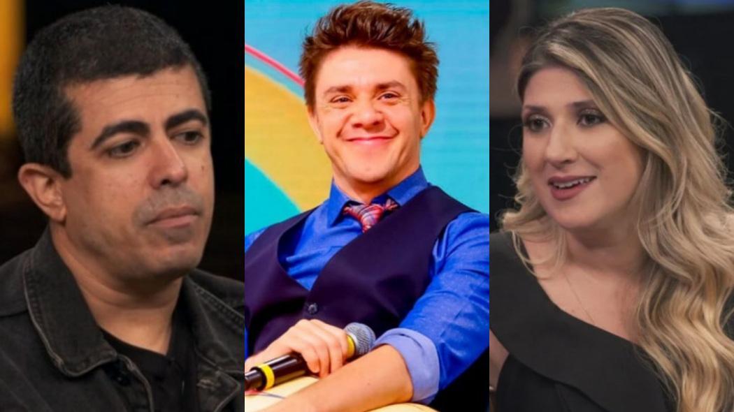 Marcius Melhem (esq.) foi acusado de assediar sexualmente Dani Calabresa (dir.); Oscar Filho (centro) fez piada