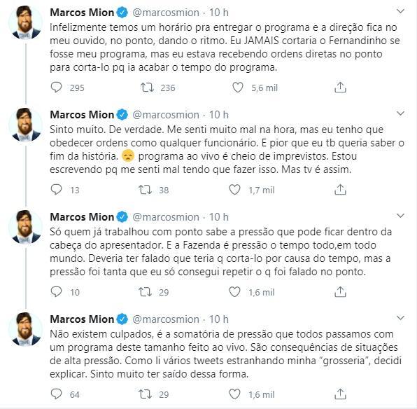 """A Fazenda 2020: Marcos Mion justifica corte em Fernandinho: \""""Tenho que obedecer ordens\"""""""