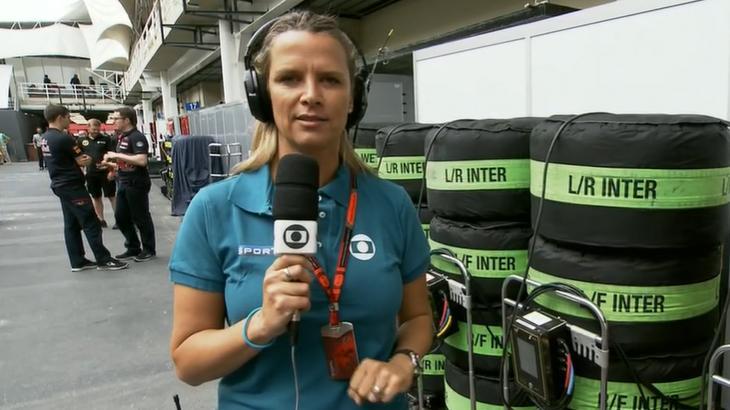 Mariana Becker em reportagem sobre F1 na Globo