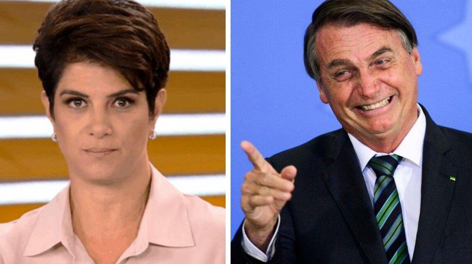 Mariana godoy com cara de séria e Bolsonaro apontando com dedo direito
