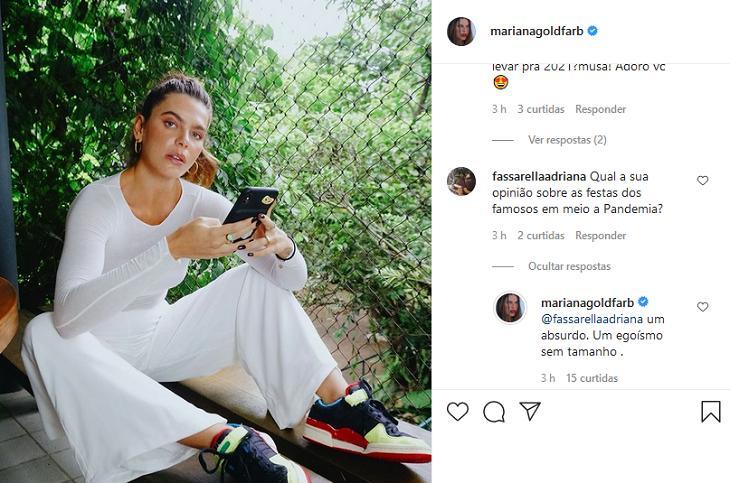"""Mariana Goldfarb detona festas de famosos na pandemia: \""""Egoísmo sem tamanho\"""""""