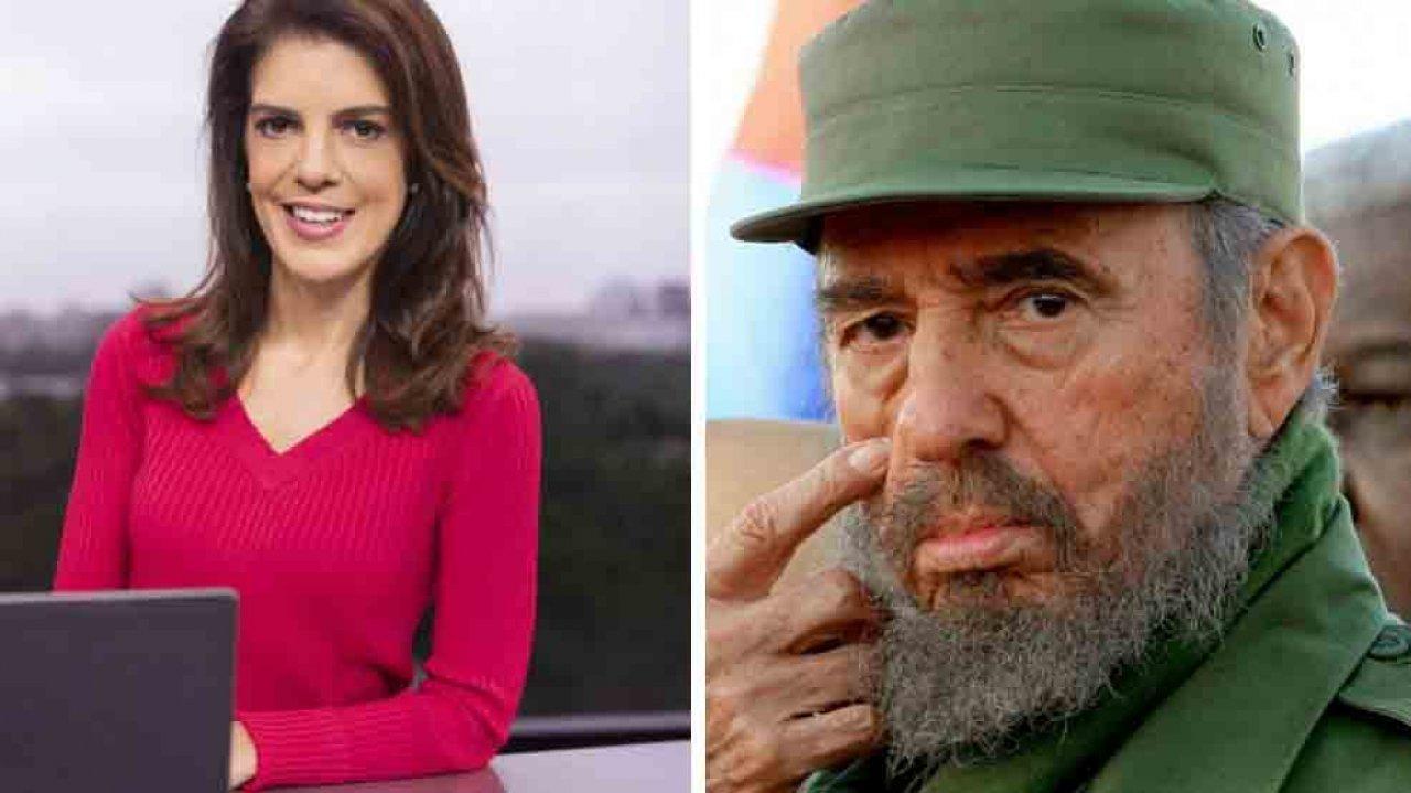 Mariana Gross e Fidel Castro de farda militar