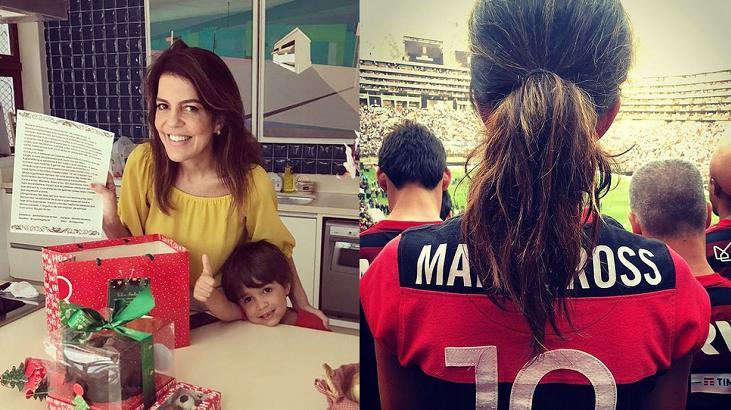 Mariana Gross com a camisa do Flamengo e com seu filho Antonio