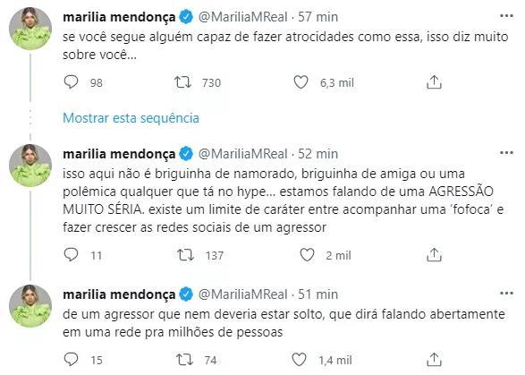 """Marília Mendonça manda recado para fãs que seguiram DJ Ivis: \""""Te convido a se retirar\"""""""