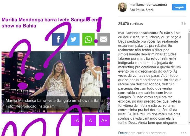 """Marília Mendonça nega ter vetado Ivete Sangalo em show: \""""estou indignada\"""""""