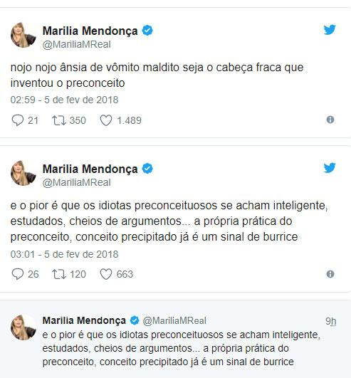 """Marília Mendonça critica haters sobre preconceito: \""""nojo, ânsia de vômito\"""""""