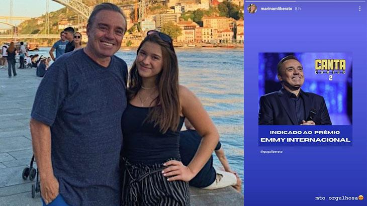 Gugu Liberato ao lado da filha, Marina; à direita, publicação dela no Instagram
