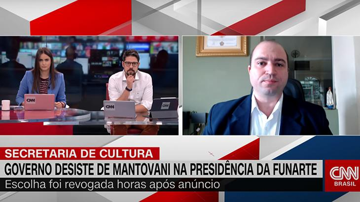 Mari Palma e Phelipe Siani entrevistaram o ex-presidente da Funarte, Dante Mantovani