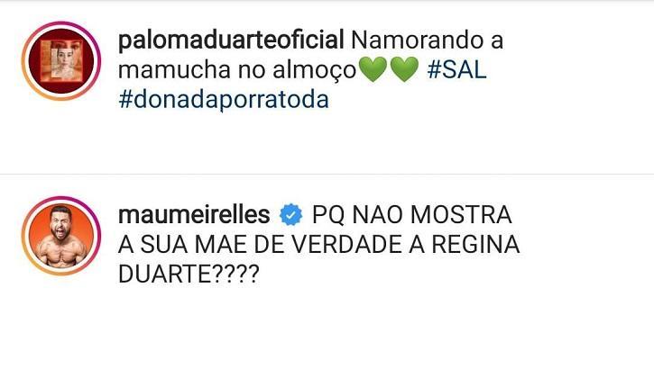 Maurício Meirelles provoca Paloma Duarte e diz que ela é filha de Regina Duarte