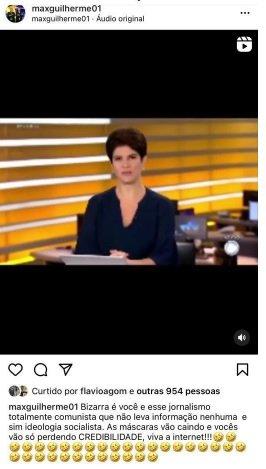 """Assessor de Bolsonaro detona Record e Mariana Godoy: \""""Totalmente comunista\"""""""
