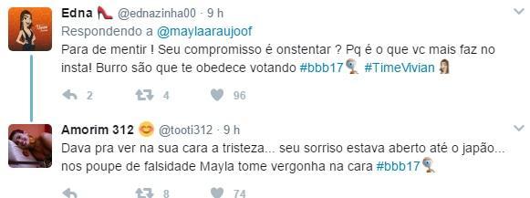 """Enquanto tensão rolava solta no \""""BBB17\"""", Mayla ostentava em redes sociais e é detonada"""