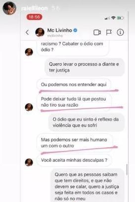 """Dançarina expõe mensagens de Livinho e diz ter sido ameaçada: \""""Foi um crime\"""""""