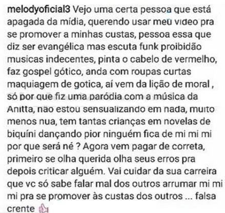 """Priscilla Alcântara critica paródia de MC Melody e funkeira mirim ataca: \""""falsa crente\"""""""