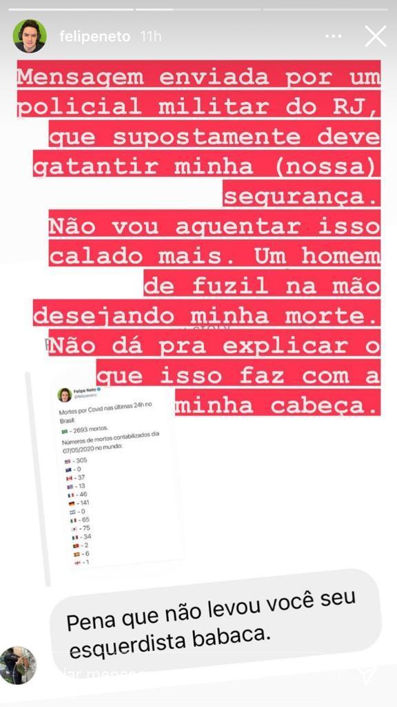 """Felipe Neto revela mensagem de PM do Rio desejando sua morte: \""""Não consigo descrever\"""""""