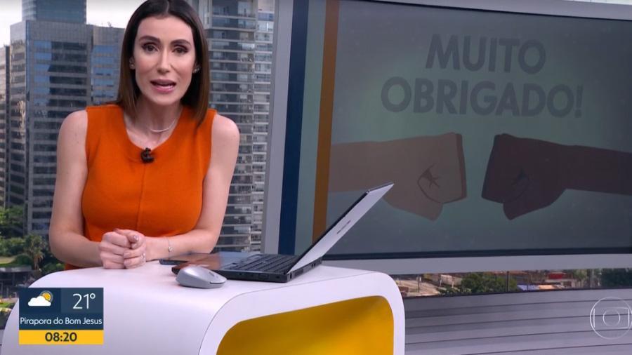Michelle Barros no Bom Dia SP falando