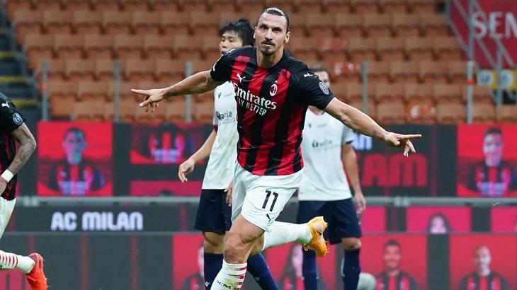 Ibrahimovic comemora gol pelo Milan em partida transmitida pelo SporTV