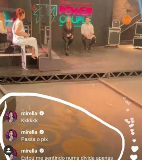 """MC Mirella brinca após eliminação de Márcia e Rod do Power Couple: \""""Passa o pix\"""""""