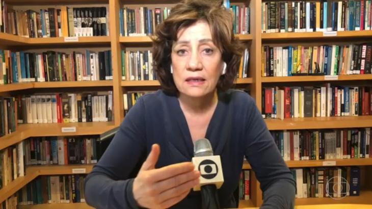 Miriam Leitão falando no Bom Dia brasil de seu escritório