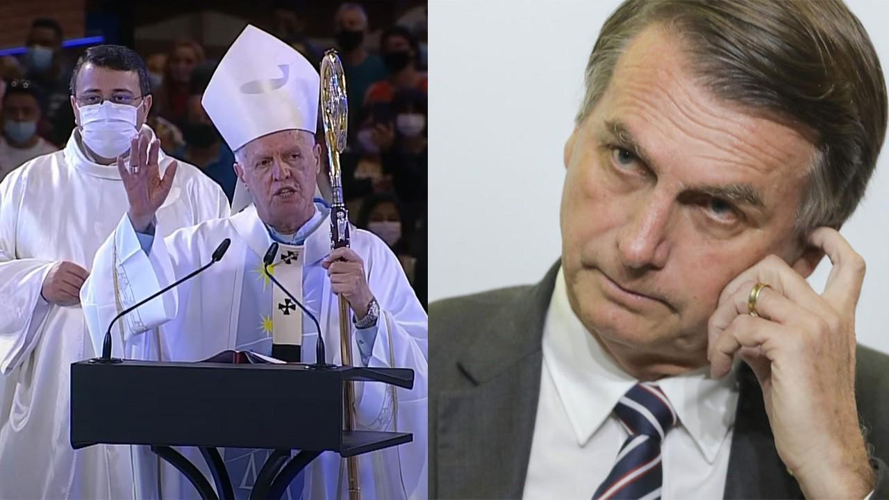Arcebispo durante missa em Aparecida; Bolsonaro preocupado