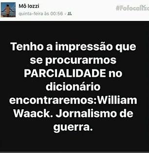 "Monica Iozzi alfineta William Waak em rede social: \""jornalismo de guerra\"""