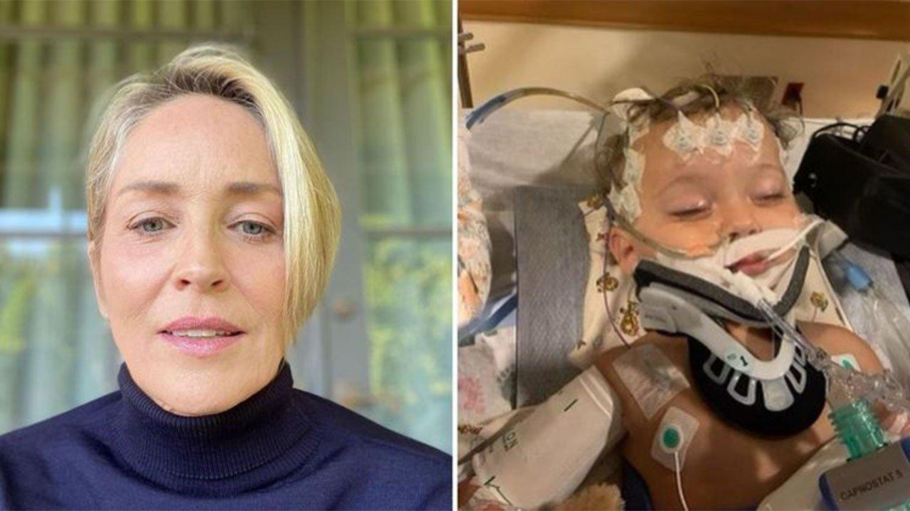 Sharon Stone fazendo selfie; River Stone com aparelhos em leito hospitalar