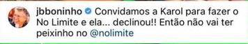 """Após Carol Peixinho ter dito que participaria de No Limite, Boninho revela: \""""Declinou\"""""""