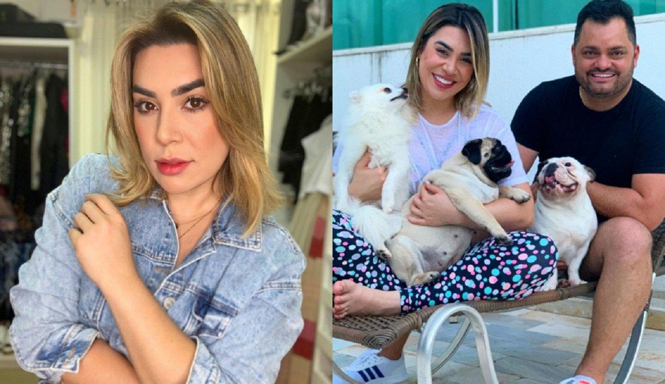 Naiara Azevedo de jaqueta jeans e ao lado do ex-marido, Rafael Cabra, com três cachorrinhos no colo