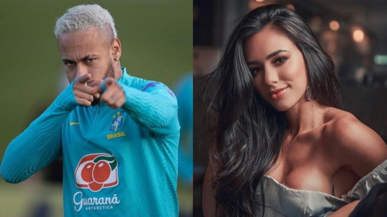 Montagem de Neymar apontando para Bruna Biancardi