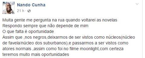 """Nando Cunha fala sobre razão de não voltar às novelas: \""""Falta é oportunidade\"""""""