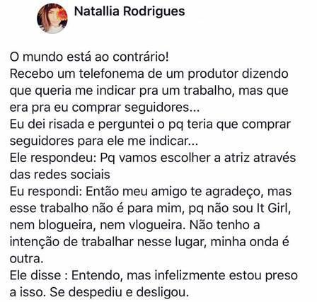 """Natallia Rodrigues perde trabalho por não ter tantos seguidores: \""""O mundo está ao contrário\"""""""