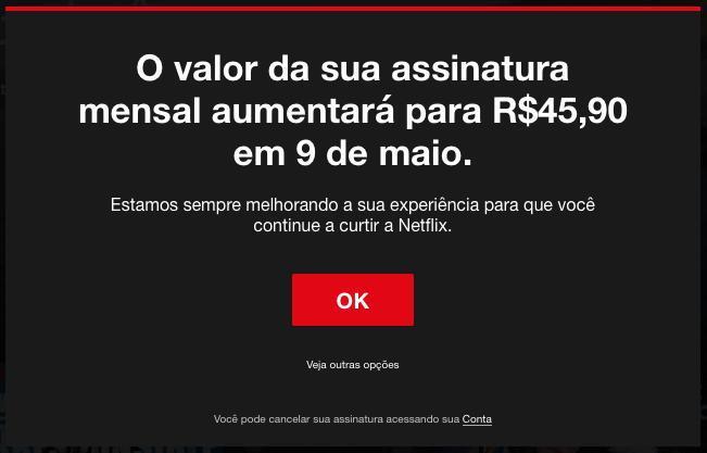Netflix começa a avisar assinantes sobre aumento na mensalidade