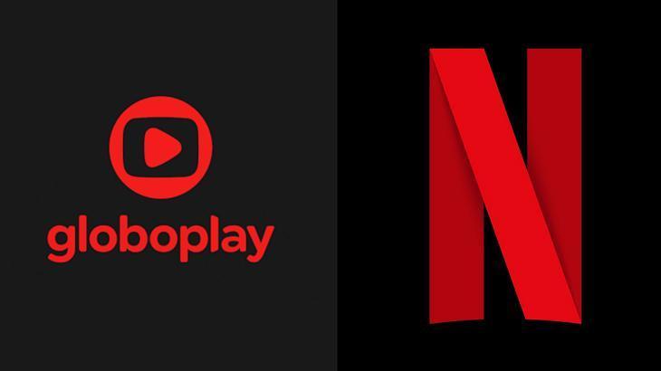 Tela dividida com logotipo do Globoplay e da Netflix