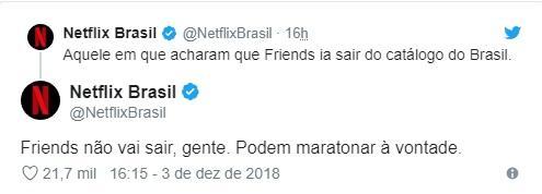 """Netflix confirma que \""""Friends\"""" segue no catálogo brasileiro"""