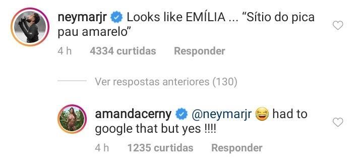 Neymar diz que modelo se parece com a boneca Emília e web zoa cantada